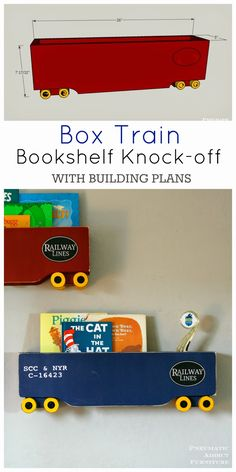 Craft Gifts For Father - Fantastic Present Strategies Make All Three Shelves For Box Train Bookshelf Knock-Off, With Free Building Plans. Boys Train Bedroom, Train Nursery, Train Room, Kids Bedroom, Bedroom Ideas, Train Car, Bedroom Designs, Big Boy Bedrooms, Baby Boy Rooms