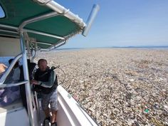 A floating mass of plastic and styrofoam found off the coast of Honduras.