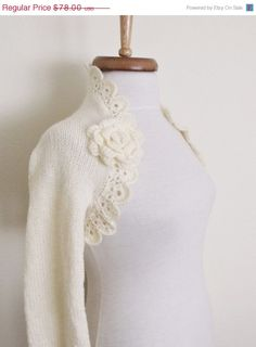 CHRISTMAS SALE Ivory Wedding shrug Bridal shrug by knittingshop