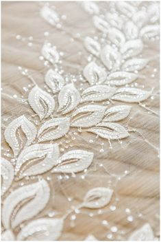 Discover thousands of images about Leaf lace fabric wedding lace fabric bridal lace Couture Beaded Lace, Beaded Embroidery, Embroidery Stitches, Embroidery Patterns, Hand Embroidery, Bridal Lace Fabric, Wedding Fabric, Wedding Lace, Wedding Dress