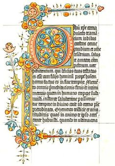 FACSIMILE PAGE OF A BOOK OF HOURS, 15th Century.