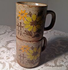 Vintage Floral Stacking Mugs by vintagepoetic on Etsy