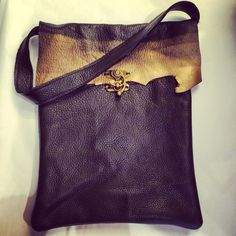 Black and gold metallic purse, hand bag made from scrap leather. Has a metal hook closure. Bag Making, Scrap, Metallic, Closure, Handbags, Purses, My Love, Gold, Leather