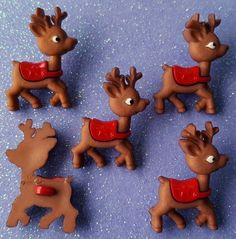 BABY REINDEER - Rudolph Santa Sleigh Christmas Eve Dress It Up Craft Buttons #DressItUp