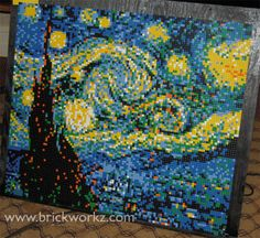 """Starry Night"" - a LEGO portrait by Brian Korte from Brickworkz.com - 9220 LEGO parts, 12 colors. Designed for an art class in Tennessee to teach about Van Gogh's famous work."