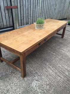 Stunning pale antique farmhouse table. Sits on a beautiful thick sturdy base. 6.5 cm thick top. 59.5 leg clearance.