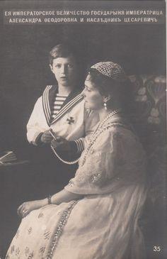 Tsarina Alexandra Feodorovna of Russia & her son Tsarevich Alexis of Russia RARE