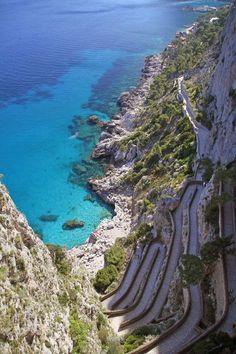 Cliff walk in Capri Island, Italy