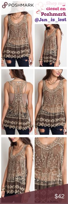 "Sheer Racer Back Tank S/M Mocha Sheer Racer Back Tank S/M  Sheer racer back tank cotton blend.  Color is mocha. Sizes is S/M (woman's 2-6) bust measures 19"" little stretch and is 25"" long.  No Trades ✅Reasonable Offers Are Considered✅ Use the blue offer button. Tops"