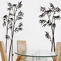 Schwarz Bambus Wandtattoo House Aufkleber abnehmbarer Wohnzimmer Tapete Schlafzimmer Küche Art Bild Wandmalereien Sticks PVC Fenster Tür Dekoration + 3D Frosch Auto Aufkleber Geschenk