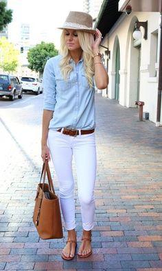 Look: Camisa Jeans + Calça Branca