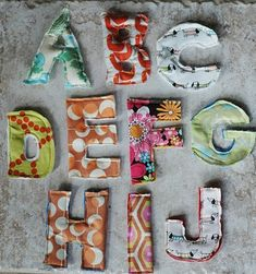 fabric letters for the fridge
