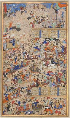 """[pic The Met: Iranian vs. Turanian from a 16th c. version of the early 11th c. Iranian national epic, """"The Shahnameh"""" (The Book of Kings)…for educational purposes only] By the official site sheda vasseghi on facebook. IranologySociety."""
