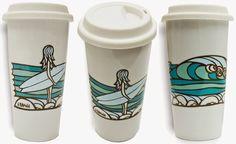 Surf Art Porcelain Coffee Tumblers by Heather Brown www.HeatherBrownArt.com
