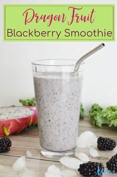 Dragon Fruit Blackberry Smoothie #Recipe #dragonfruit #smoothie #breakfast