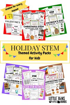 Making the holidays fun and education is SOO possible with these Holiday STEM Activity Packs for kids! No matter the holiday, you will never run out of STEM activities to engage your children's minds in. Just a few of the activities included are Christmas STEM, Halloween Slime Science Experiments, Printable Peep STEM Activities, and so much more. These holiday activities for kids allow them to explore the holidays in a new and educational way. Fall Preschool Activities, Halloween Activities For Kids, Steam Activities, Valentines Day Activities, Kindergarten Science, Holiday Activities, Easy Science Experiments, Science For Kids, Stem Learning