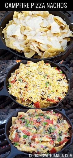 Campfire Pizza Nachos Recipe with creamy garlic alfredo sauce. Prep veggies at home for easy camp assembly.