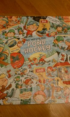 """Collage made from the book """"Ben and Lucy Play Pond Hockey"""""""