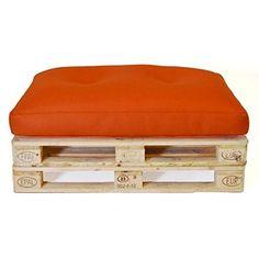 Hagoelvago - Vagofunseats- puf palets para exterior - tejido drenable relleno bolitas de poliestireno - flota palet europeo, medidas 120x80x15 cm, color naranja