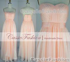2014 Bridesmaid Dress,Strapless Floor Length Draped Chiffon Prom Dress,Evening Dress,Wedding Dresses,Party Dress,Formal Dress,Evening Gown