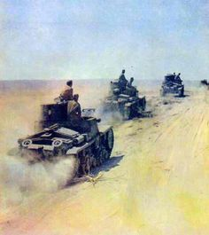Advancing platoon of Italian Tanks in North Africa in 1940.