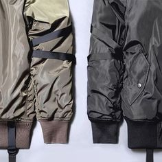 Stampd Strapped Bomber Jacket: Los Angeles brand Stampd releases its latest in outerwear, the Strapped Bomber Jacket that takes on Nylon Bomber Jacket, Bomber Jackets, Hypebeast, Parachute Pants, Knitwear, Menswear, Mens Fashion, Stylish, My Style