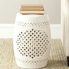 Add some classic style to you indoor or outdoor garden with the Safavieh Paradise Gardens cream ceramic garden stool. This x ceramic garden stool can be used as a small accent table, a foot st Ceramic Stool, Ceramic Garden Stools, Leaf Cutout, Small Accent Tables, Paradise Garden, Vanity Stool, Quatrefoil, Accent Pieces, Fresco
