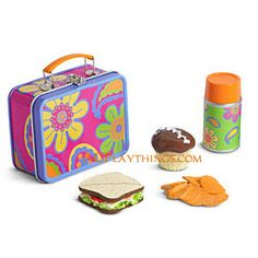 Julie's School Lunch Box Item# F6316 $20  Julie's lunch travels in '70s style with everything here: A metal lunchbox, featuring a fun paisle...