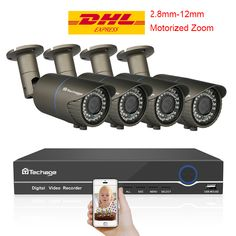 Cheap kit diy, Buy Quality kit kits directly from China kit ip Suppliers: Techage NVR POE CCTV System Varifocal Zoom Lens PoE IP Camera Onvif Security Surveillance DIY Kit Diy Home Security, Video Security, Wireless Home Security Systems, Security Tips, Security Camera System, Security Surveillance, Security Alarm, Surveillance System, Distancia Focal