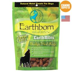 Earthborn Holistic Earthbites Chicken Meal Recipe moist treats serve as a daily reward for your dog. This hearty, antioxidant-rich chicken meal formula is blended with vegetables and fruits in every b,