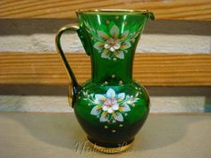 Bohemian hand painted green glass Pitcher with floral design & gold gilt