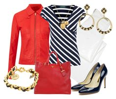 red by outfits-de-moda2 on Polyvore featuring moda, Lauren Ralph Lauren, Citizens of Humanity, Rupert Sanderson, Prada, GUESS, Noir Jewelry and Satya Jewelry