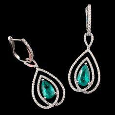 18KW H. Emperor 1.84ctw Emerald Pear .93ctw Diamond Drop Earrings