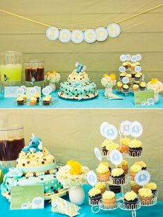 yellow n blue elephant baby shower