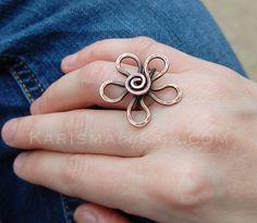 Large Flower Ring Oxidized Copper Wire by Karismabykarajewelry, $28.00