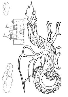 Free Online Printable Kids Colouring Pages Fiery Dragon Page