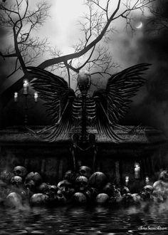 Digital artwork originally created through the use of digital programs on a computer. Dark Fantasy Art, Dark Gothic Art, Dark Art, Gothic Pictures, Gothic Images, Dark Images, Dark Wings, Skull Artwork, Skeleton Art
