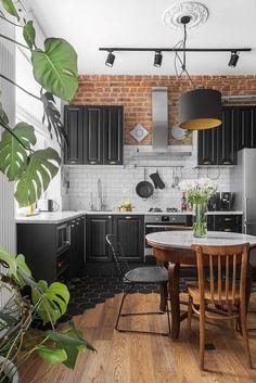 19 Ideas Kitchen Tiles Brick Interior Design For 2019 Black Kitchen Cabinets, Black Kitchens, Cool Kitchens, Kitchen Black, Neutral Kitchen, Kitchen Modern, Kitchen Island, Retro Home Decor, Home Decor Kitchen
