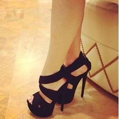 awesome Fashionable Black Suede Peep Toe Ankle Strap High Heel Shoes