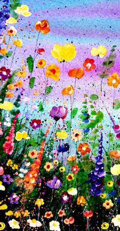 Original Floral Painting Wild Flower Art Abstract Meadow Painting Original Acrylic Painting Contemporary Artwork Unique Gift for Her Painting Flowers Tutorial, Acrylic Painting Flowers, Abstract Flowers, Wild Flower Meadow, Wild Flowers, Name Paintings, Splatter Art, Street Art, Mixed Media Artwork