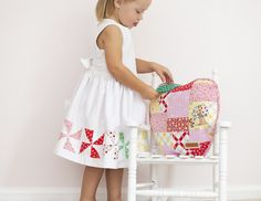 Apple Farm Fabric - Pinwheel Dress and Patchwork Apple Pillow - The Family Hearth