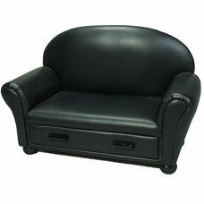 Black Vinyl Upholstered Chaise Lounge by Kids Korner
