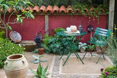 Mediterranean style garden courtyard patio with terracotta roof tile fence, urns, garden furniture, herbs, shrubs, flowers, plants in a dry drought tolerant garden, outdoor lifestyle, book, hat, coffee drinking, peaceful secluded backyard spot