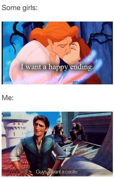 In my case, I want a happy ending. I've toured a few castles and I find them to be dark, damp, and creepy. Living in a castle would definitely not make me happy.