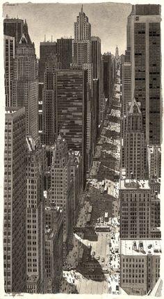 Estos increíbles dibujos de Stefan Bleekrode recrean detallados paisajes urbanos,Nueva York. Imagen © Stefan Bleekrode