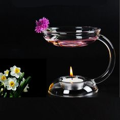 Transparent Glass Double-deck Candle Holder