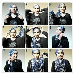 like this print hijab, simple hijab tutorial by zahratuljannah