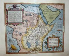 1603 Ortelius Map Prester John Africa Mythical Ruler Superb Decorative Elements   eBay