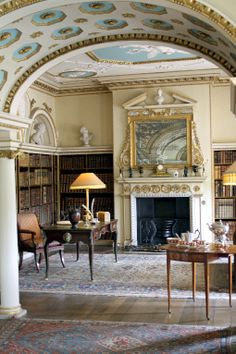 Town and Country — Library at Shugborough Hall, England Country Interior, Classic Interior, Library Study Room, Style Anglais, Library Inspiration, Grand Homes, Interior Decorating, Interior Design, Vintage Interiors