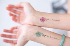 Temporary Tattoo flower waterproof Ultra-thin realistic Fake Tattoo - 3 small flower temporary Tattoo flower Tattoo sticker – temporary Tattoo – Tattoo sticker You ar - Wrist Tattoos, Cute Tattoos, Flower Tattoos, Body Art Tattoos, Small Tattoos, Sleeve Tattoos, Tatoos, Tattoos For Daughters, Sister Tattoos